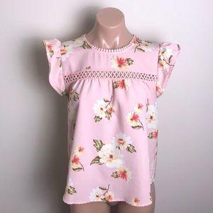 Mine Pink Floral Crochet Flutter Sleeve Top
